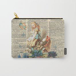 Vintage Alice In Wonderland on a Dictionary Page Carry-All Pouch