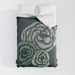 Green Flowers Comforters