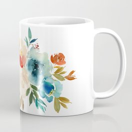 Red Turquoise Teal Floral Watercolor Coffee Mug