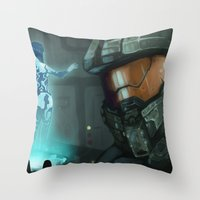 master chief Throw Pillows featuring Master Chief and Cortana by IdentityPollution