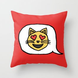 Emoji - Cat with Heart Eyes Throw Pillow