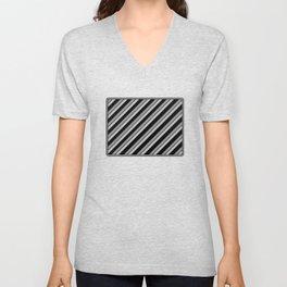 Grey Bands on Black Unisex V-Neck