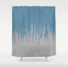 Concrete Fringe Blue Shower Curtain