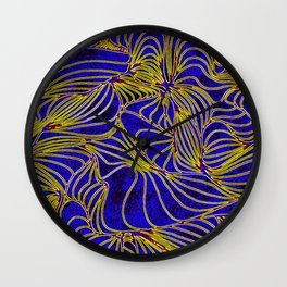 Curves in Yellow & Royal Blue Wall Clock