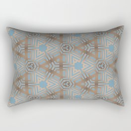 Beige and Blue Contemporary Tribal Pattern Rectangular Pillow