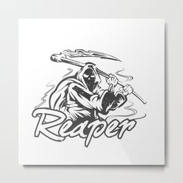 Hand Inked Grim Reaper Illustration Metal Print