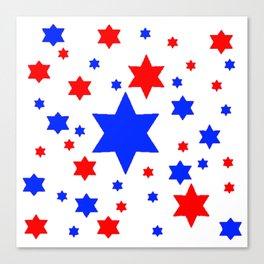 4TH RED & WHITE & BLUE STARS  DESIGN Canvas Print