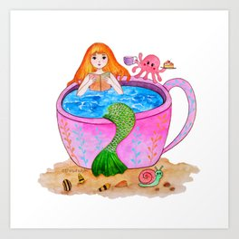 Happy mermaid Art Print