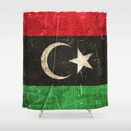 Vintage Aged and Scratched Libyan Flag Shower Curtain