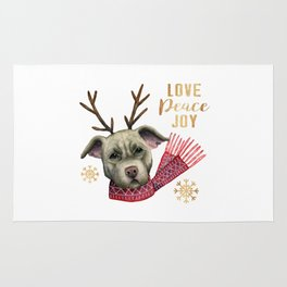 Christmas Reindeer Pit Bull with Faux Gold Snowflakes Rug