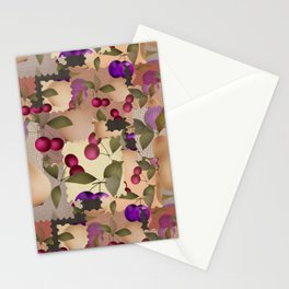 Old scraps of fabric with fruit . Stationery Cards