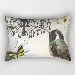 Vintage Chandelier Bird Flower & Butterflies Rectangular Pillow
