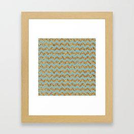 Light Blue3 Gold Glitter Chevron Pattern Framed Art Print