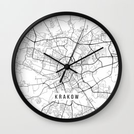 Krakow Map, Poland - Black and White Wall Clock