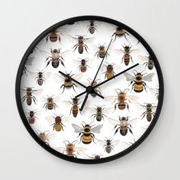 A Collection of Native Bees Wall Clock