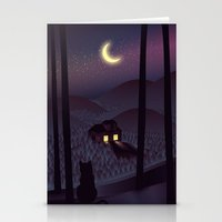 silent Stationery Cards featuring Silent Watcher by Martynas Pavilonis