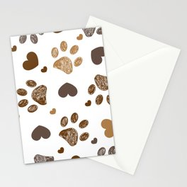 Doodle brown paw prints with hearts seamless fabric design pattern Stationery Cards