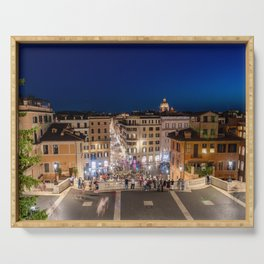 Spanish Steps and Piazza di Spagna at dusk - Rome, Italy Serving Tray