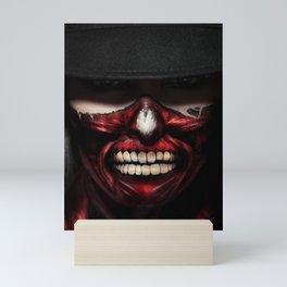 Colorful scary face portrait Mini Art Print
