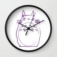 hayao miyazaki Wall Clocks featuring STUDIO GHIBLI HAYAO MIYAZAKI - MY NEIGHBOR TO TO RO by The Fugu Project