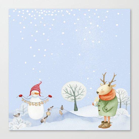 Merry christmas- Snowman Deer and birds are having Winter fun Canvas Print