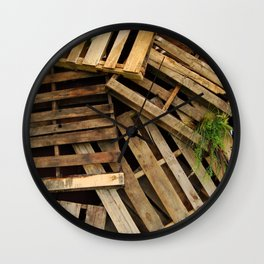 Wood Crate Paneling Pattern Wall Clock