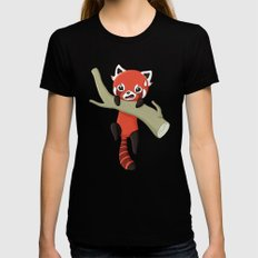 Red Panda SMALL Black Womens Fitted Tee