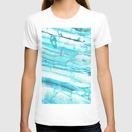 White Marble with Blue Green Veins T-shirt