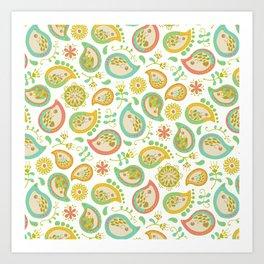 Hedgehog Paisley_Green outline Art Print