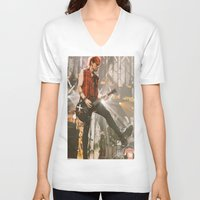 michael clifford V-neck T-shirts featuring Clifford Michael // Live by Fan_Girl_Designs