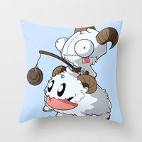 invader zim Throw Pillows featuring Invader Poro by HelloTwinsies