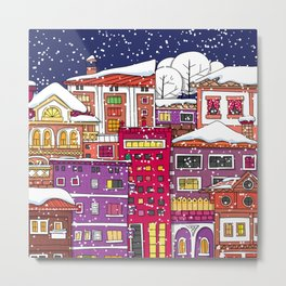 Winter town with falling snow. Metal Print