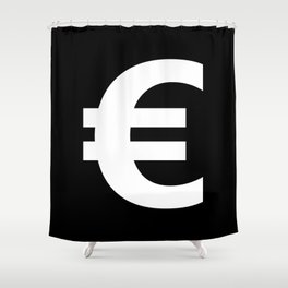 Euro Sign (White & Black) Shower Curtain