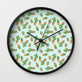 Potted Cactus Pattern on Light Blue Wall Clock