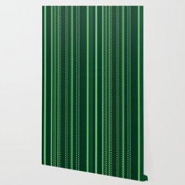 Emerald Green Pixel Stripe Design Wallpaper