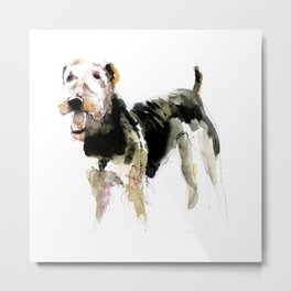 Airedale Terrier on watercolor Metal Print