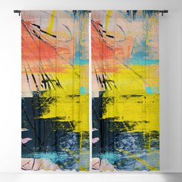 Adventurer: A vibrant abstract mixed-media piece in pink yellow and green by Alyssa Hamilton Art Blackout Curtain