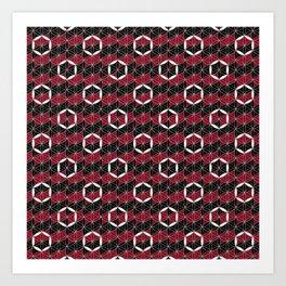 Flower of Life Ring Black Red Art Print