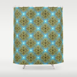 Chic Artistic Victorian Golden Trim Aqua Background  Shower Curtain
