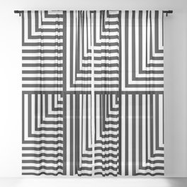Black and White L Stripes //  pencilmeinstationery.com Sheer Curtain