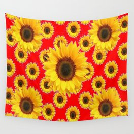Chinese RED Color Sunflower Patterns on Orange & Purple Color Wall Tapestry