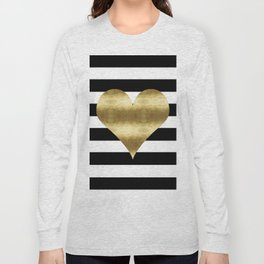 gold heart black and white stripe Long Sleeve T-shirt