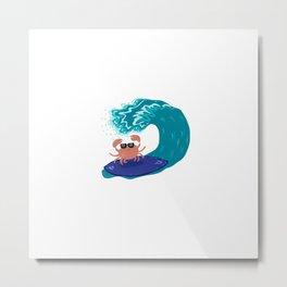 Surfing crab Metal Print