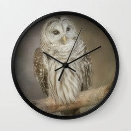 Barred Owl Peering Through Wall Clock