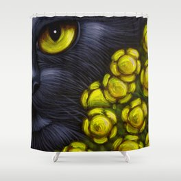 BLACK CAT with FENNEL FLOWERS Shower Curtain