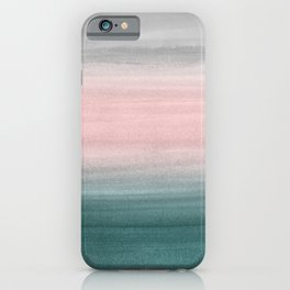 Touching Teal Blush Gray Watercolor Abstract #1 #painting #decor #art #society6 iPhone Case