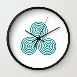 St. Patrick's Day Celtic Blue Triskelion #2 Wall Clock