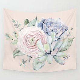 Pretty Pink Succulents Garden Wall Tapestry