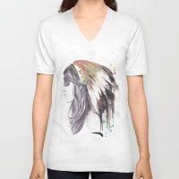 indiana V-neck T-shirts featuring Indiana  by Megan Sheridan