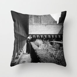 Self Portrait at Mont Saint-Michel - Holga Black and White Throw Pillow
